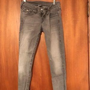 True Religion Grey Skinny Jeans Size 28